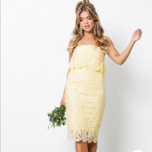 Dresses & Skirts - NWOT! Gorgeous pale yellow lace strapless dress!